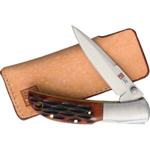Al Mar Knives Hawk Lockback Folding Knife with Honey Jigged Bone Handle