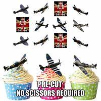 PRECUT Spitfire British Supermarine Planes 12 Edible Cupcake Toppers Decorations
