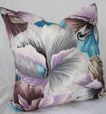 Tropical Lillys Turquoise Lilac Greys Suede LookCushion Cover 45cm