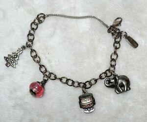 James Avery Sterling Silver Forged Link Charm Bracelet & 4 Charm - Small 6.5in.