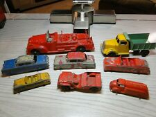 Vintage Assortment of Tootsie Toy Cars Hubley Fire Fire & other old toys lot