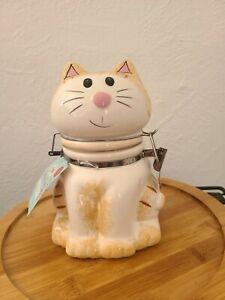Vintage Boston Warehouse Hinged Sealed Cookie Trinket Jar Sitting Tabby Cat