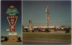 TULSA, Oklahoma ROUTE 66 Roadside Postcard SARATOGA MOTOR HOTEL Chrome c1960s