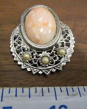 Pearl Beads Silver Filigree No Marks Antique Brooch Lapel Pin Pink White Stone