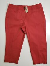 LOFT Ann Taylor women's pants RED Size 12 CAREER casual pants cropped MSRP 50