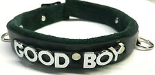 Lockable leather collar  --choose letter style -- Good Boy or any word(s)