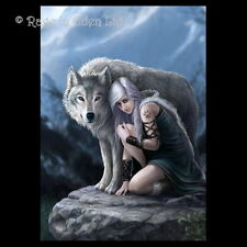 *PROTECTOR* Goth Fantasy Wolf Art 3D Print By Anne Stokes (39.5x29.5cm)