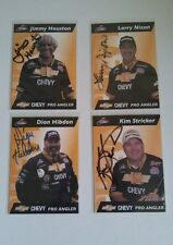 LOT OF 4 SIGNED HOF ESPN ANGLER JIMMY HOUSTON BASS FISHING CHEVY PRO TEAM LARRY