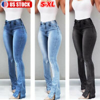 Women Denim Jeans Bell Bottom Flared Pants Boot Cut High Waist Wide Leg Trousers