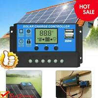 10-30A Solar Panel Battery Charge Controller 12V/24V LCD Regulator Auto Dual-USB