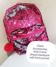 Girls Pink Sequin backpack (Claire's Accessories)