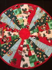 """Mickey Mouse Christmas Table Topper Handcrafted 23"""" Round Handmade Quilted"""