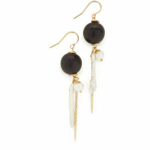 Alexis Bittar Black Wooden Beads Long Tassel Pearl Earrings Ear Stud