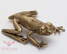 Solid Brass Amber Figurine of Feng Shui Tree frog Totem talisman IronWork