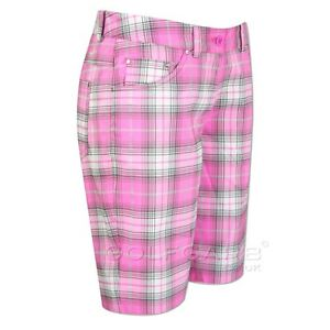 Nike Golf Women Tartan Plaid Shorts #586841-584 NWT Pink > Size Zero (0)