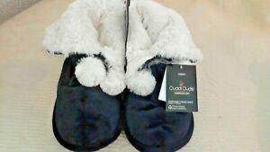 CuddlDuos Plush Fur Black Slipper Boots W Pom Poms Size Women M 7-8 Soft NEW