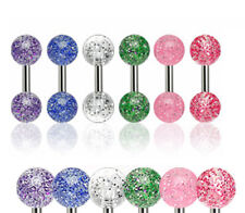 """1/4"""" Ear Piercings Jewelry Get All 6 6 Pc Glitter Cartilage Tragus Barbell 16g"""