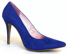 Catwalk Sophia UK 6.5 Electric Blue High Heel Faux Suede Pointed Court Shoes