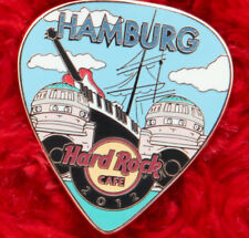 Hard Rock Cafe Pin HAMBURG Postcard GUITAR PICK LE200 SAIL BOAT Facade logo ship