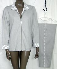 New BLAIR Women's 2-pc SWEATSUIT Gray White LOUNGE Zip Jacket & Pants  S  SML PT