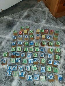 """69 Vintage Wooden Alphabet Blocks Sesame Street Picture Number Square 1.25"""""""