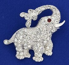 Elephant Brooch Made With Swarovski Crystal Good Luck Trunk Up New Pin Jewelry