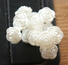 12 x IVORY PEARL ACRYLIC ROSES 10mm ON SILVER WIRE STEMS  BRIDAL CAKE CRAFT