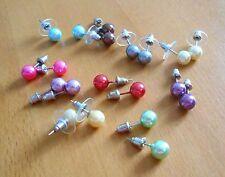 MODESCHMUCK: 10 Paar Ohrstecker (Kunststoff-)Perlen, ivory, lila, silber, rot ..