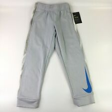 Nike Therma Active Training Pants With Blue Swoosh Logo Wolf Grey Boys 7/L New