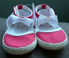 Janie and Jack Red Textile Crib Shoes with Bows Baby Girl Size 4 New with Tag