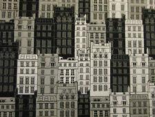 BIG CITY BUILDINGS NYC LONDON UK BLACK WHITE FABRIC FQ