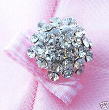 10 Round Rhinestone Crystal Button Buckle Wedding Invitation Scrapbooking BT093