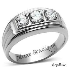 Men's Round Cut CZ Silver Stainless Steel 316L Wedding Fashion Ring Band Sz 8-14
