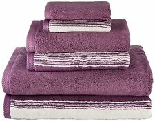 6 Piece Stripe Towel Set Plum SPA Collection 100% superior Egyptian cotton Z1