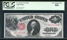 FR. 38m 1917 $1 ONE DOLLAR MULE LEGAL TENDER UNITED STATES NOTE PCGS UNC-64
