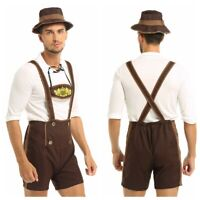 Men Halloween Bavarian Beer Guy Oktoberfest Lederhosen German Fancy Costumes