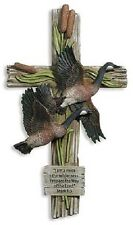 Wall Cross with outdoor theme of geese and cattails.Keeping God in the outdoors!