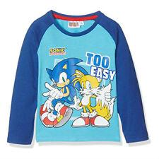 T-shirt garçon manches longues SONIC taille 3 4 6 ou 8 ans bleu NEUF