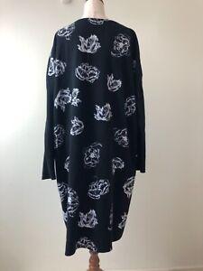 Grace Hill Size 18 Black White Floral Print Long Sleeve Stretch Shift Midi Dress