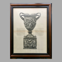 19th Century Lithographic Print of Giovanni Piranesi Engraving of Amphora Vase