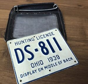 Antique 1939 Metal OHIO Hunting License with Holder Tag RARE DS-811 Vintage