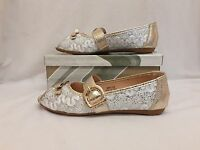 Black Gold Silver Flats Peep Toe Pumps Flat Shoes Size Ladies Womens 1 BOW Size