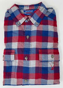 NEW Nautica Mens Plaid Flannel Button-down Classic Fit Shirt , Red/blue L