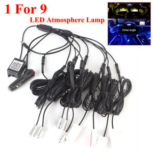 RGB 1IN 9 LED Car Atmosphere Lamp Ambient Light Flash 8m APP Control Ios/Android
