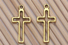 20/200PCS Tibetan silver Craft Gold Cross Charms Pendants Jewelry Making 23*11mm