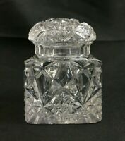 """🔷 Antique English or French Brilliant Cut Glass 3 3/8"""" INKWELL w/ Cut Glass Lid"""