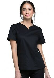 """Luxe Scrubs #770 V-Neck Detailed Scrub Top in """"Black"""" Size XS"""