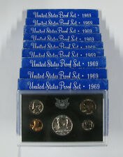 (10) 1969 S Silver Proof Sets Ogp Total Of 50 Proof Coins Kennedy Lincoln Jeff
