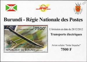 SOLAR IMPULSE Swiss Experimental Sun-Powered Aircraft Stamp Sheet 2/2012 Burundi