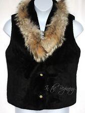 Tsunami Womens M Real Fur Collar Black Faux Fur Vest Jacket EUC